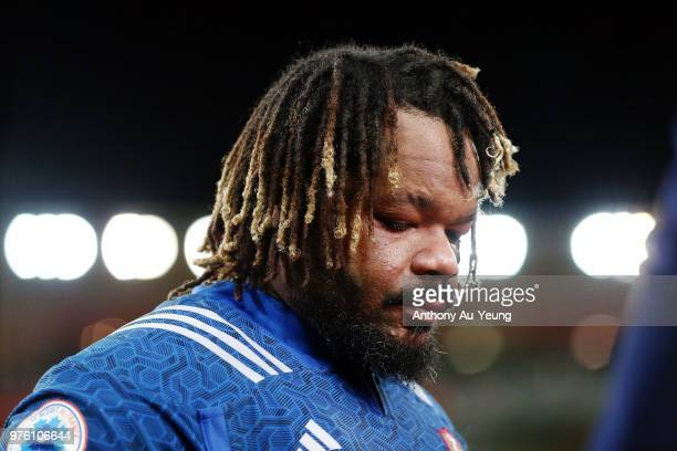 Mathieu Bastareaud of France looks on after the International Test match between the New Zealand All Blacks and France at Westpac Stadium on June 16...