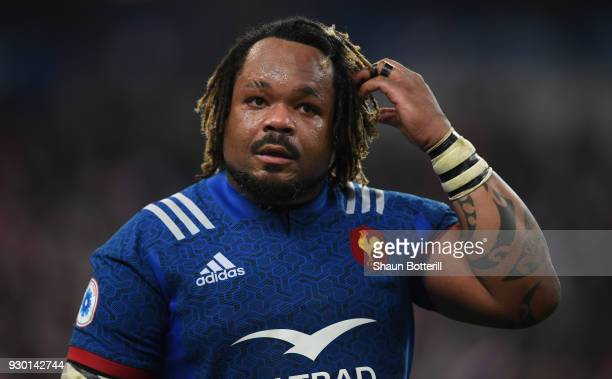 Mathieu Bastareaud of France looks on after the NatWest Six Nations match between France and England at Stade de France on March 10 2018 in Paris...