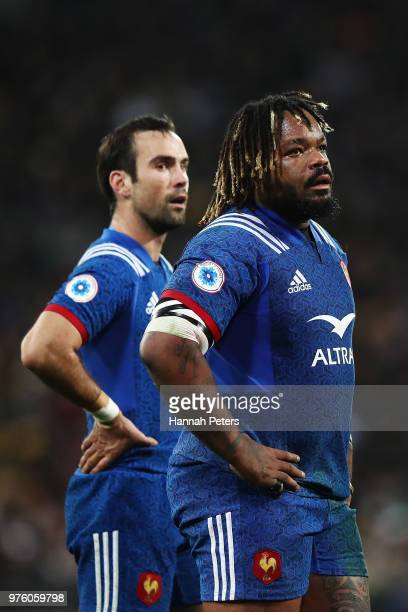 Mathieu Bastareaud of France looks on during the International Test match between the New Zealand All Blacks and France at Westpac Stadium on June 16...