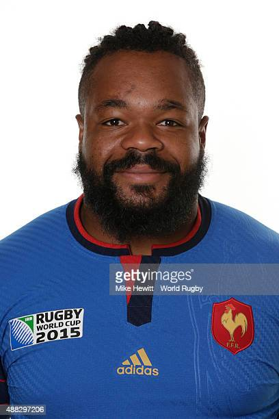 Mathieu Bastareaud of France poses during the France Rugby World Cup 2015 squad photo call at the Selsdon Park Hotel on September 15 2015 in Croydon...