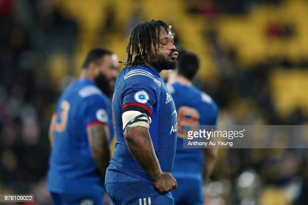 Mathieu Bastareaud of France reacts after losing the International Test match between the New Zealand All Blacks and France at Westpac Stadium on...