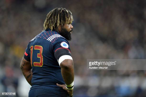 Mathieu Bastareaud of France reacts during the test match between France and New Zealand at Stade de France on November 11 2017 in Paris France