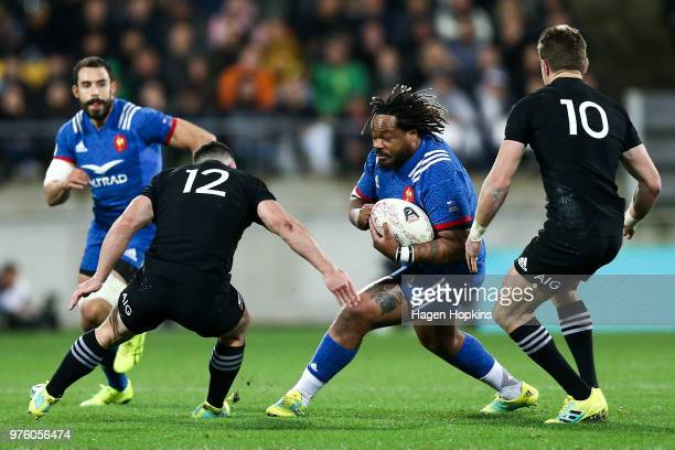 Mathieu Bastareaud of France runs at Ryan Crotty of New Zealand during the International Test match between the New Zealand All Blacks and France at...