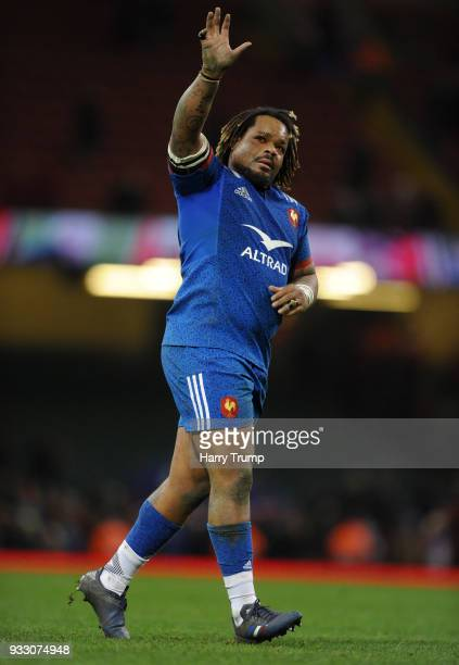 Mathieu Bastareaud of France shows appreciation to the fans after the NatWest Six Nations match between Wales and France at Principality Stadium on...