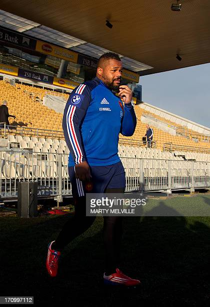 Mathieu Bastareaud of France walks out onto the field during the captain's run ahead of the third rugby union test mach against the New Zealand All...