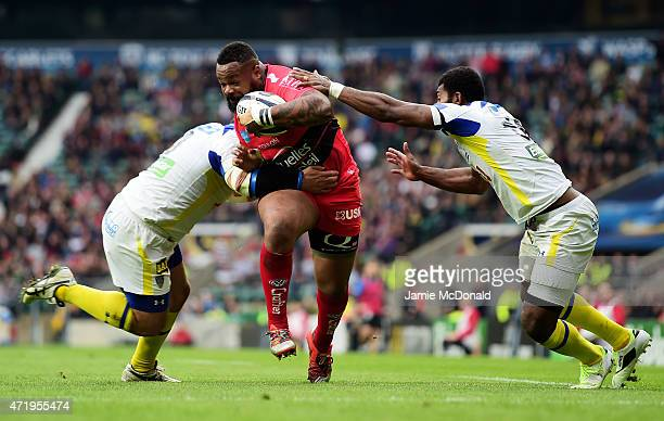 Mathieu Bastareaud of Toulon barges over to score his team's first try during the European Rugby Champions Cup Final match between ASM Clermont...