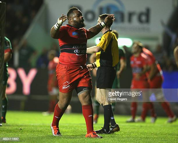 Mathieu Bastareaud of Toulon celebrates after scoring a try during the European Rugby Champions Cup pool three match between RC Toulon and Leicester...