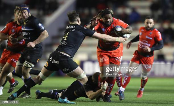 Mathieu Bastareaud of Toulon is tackled by Elliot Stooke during the European Rugby Champions Cup match between RC Toulon and Bath Rugby at Stade...