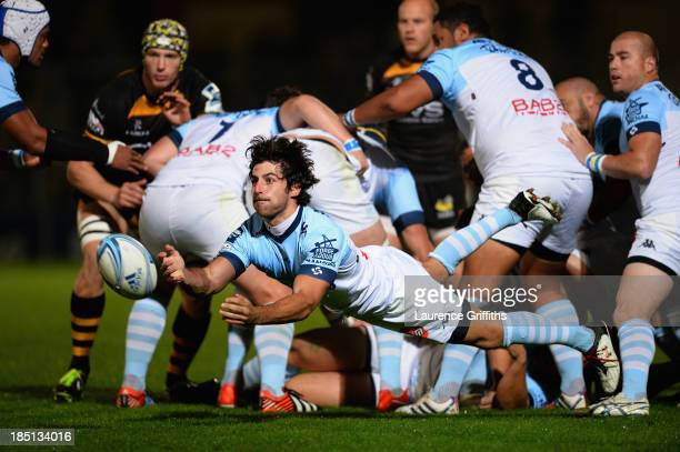 Mathieu Belie of Bayonne in action during the Amlin Challenge Cup round two match between London Wasps and Bayonne at Adams Park on October 17 2013...