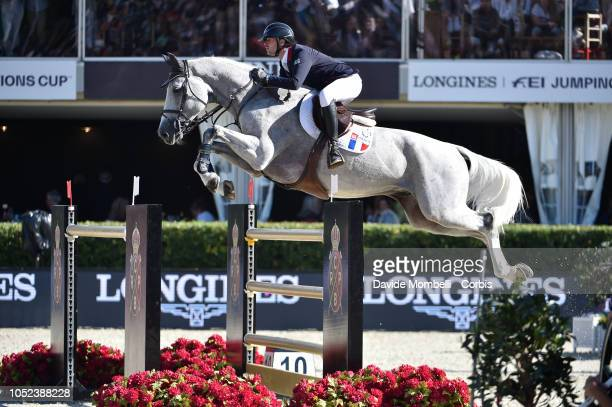 Mathieu Billot of France riding Quel Filou 13 during Longines FEI Jumping Nations Cup Final Competition on October 7 2018 in Barcelona Spain