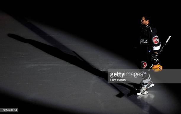 Mathieu Biron of Frankfurt attends the ice during the DEL match between Frankfurt Lions and Straubing Tigers at the Eissporthalle on December 5 2008...