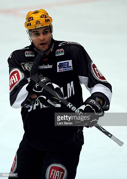 Mathieu Biron of Frankfurt gestures during the DEL match between Frankfurt Lions and Straubing Tigers at the Eissporthalle on December 5 2008 in...