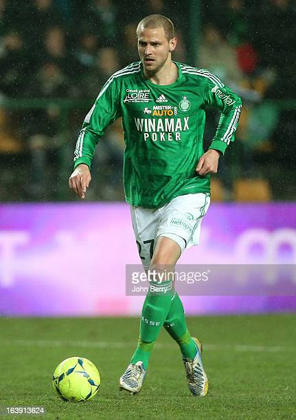 Mathieu Bodmer of SaintEtienne in action during the Ligue 1 match between AS SaintEtienne ASSE and Paris SaintGermain FC at the Stade...