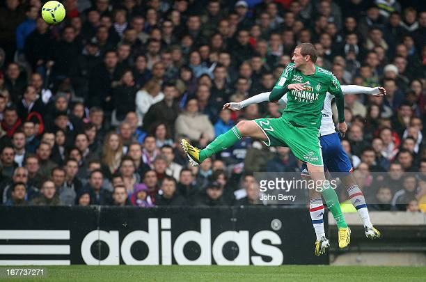 Mathieu Bodmer of SaintEtienne in action during the Ligue 1 match between Olympique Lyonnais OL and AS SaintEtienne ASSE at the Stade Gerland on...