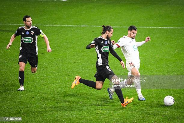 Mathieu COUTADEUR of Ajaccio, Vincent MARCHETTI of Ajaccio and Houssem AOUAR of Lyon during the french cup match between Lyon and Ajaccio at Groupama...