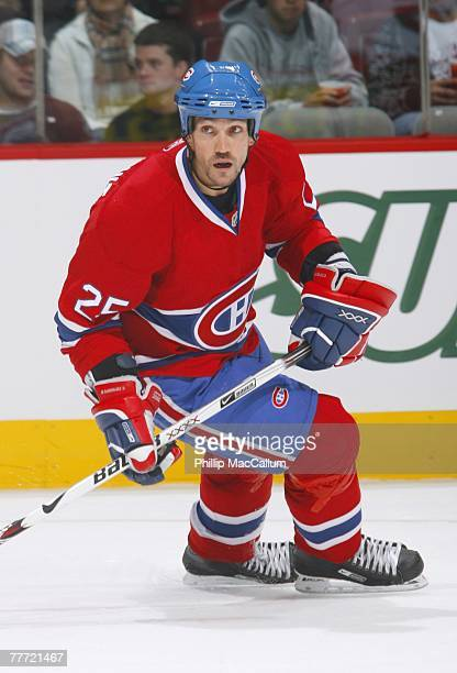Mathieu Dandenault of the Montreal Canadiens skates against the Carolina Hurricanes on October 13 2007 at the Bell Centre in Montreal Quebec The...