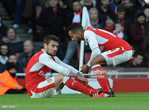 Mathieu Debuchy and Theo Walcott of Arsenal during the Premier League match between Arsenal and AFC Bournemouth at Emirates Stadium on November 27...