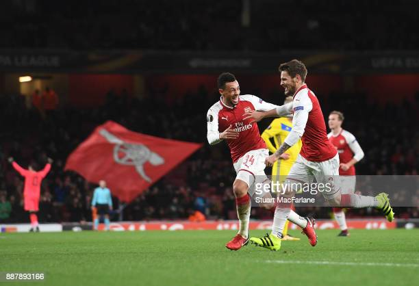 Mathieu Debuchy celebrates scoring for Arsenal with Francis Coquelin during the UEFA Europa League group H match between Arsenal FC and BATE Borisov...
