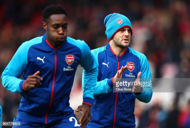 Mathieu Debuchy of Arsenal and Jack Wilshere of Arsenal warms up prior to the Premier League match between AFC Bournemouth and Arsenal at Vitality...