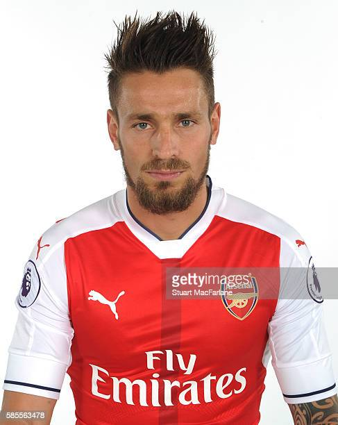 Mathieu Debuchy of Arsenal at the 1st team photocall at London Colney on August 3 2016 in St Albans England