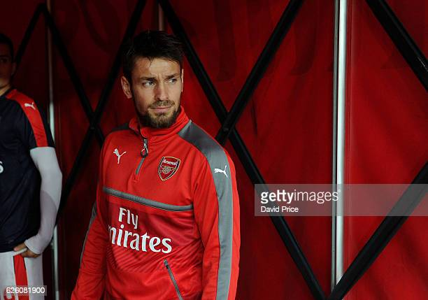 Mathieu Debuchy of Arsenal before the Premier League match between Arsenal and AFC Bournemouth at Emirates Stadium on November 27 2016 in London...