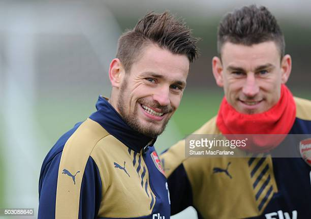 Mathieu Debuchy of Arsenal during a training session at London Colney on January 1 2016 in St Albans England
