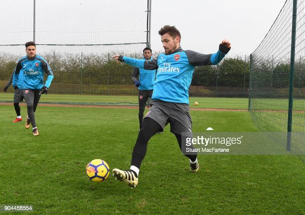 Mathieu Debuchy of Arsenal during a training session at London Colney on January 13 2018 in St Albans England