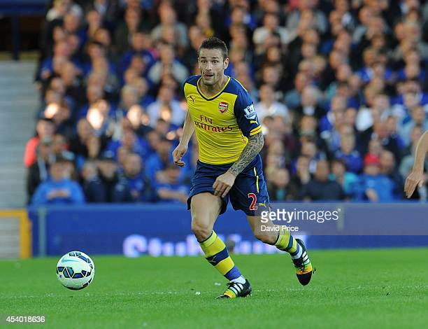 Mathieu Debuchy of Arsenal during the Barclays Premier League match between Everton and Arsenal at Goodison Park on August 23 2014 in Liverpool...