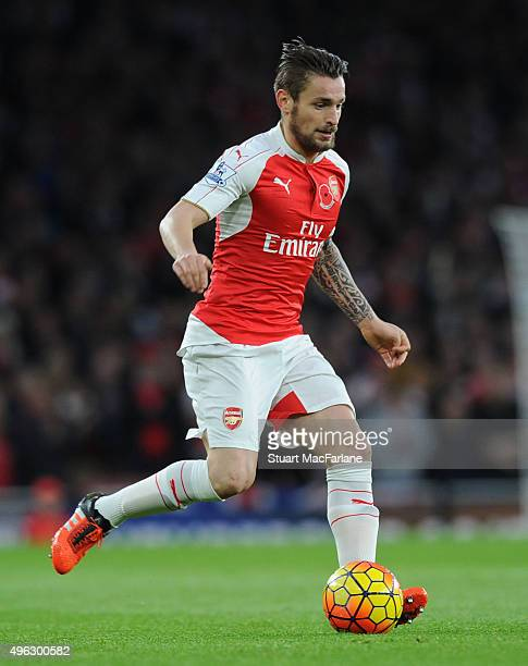 Mathieu Debuchy of Arsenal during the Barclays Premier League match between Arsenal and Tottenham Hotspur at Emirates Stadium on November 8 2015 in...
