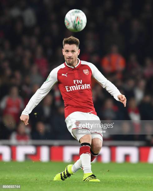 Mathieu Debuchy of Arsenal during the Carabao Cup Quarter Final match between Arsenal and West Ham United at Emirates Stadium on December 19, 2017 in...