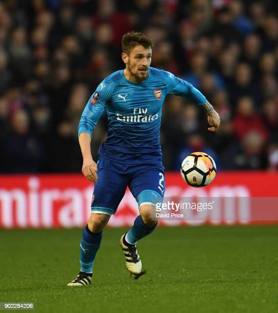 Mathieu Debuchy of Arsenal during the Emirates FA Cup 3rd Round match between Nottingham Forest and Arsenal at City Ground on January 7 2018 in...