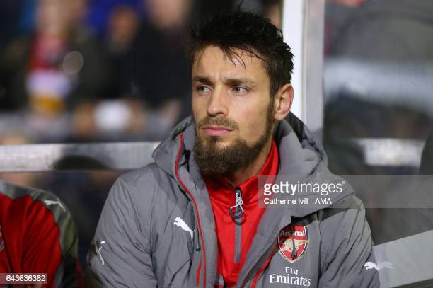 Mathieu Debuchy of Arsenal during The Emirates FA Cup Fifth Round match between Sutton United and Arsenal on February 20, 2017 in Sutton, Greater...