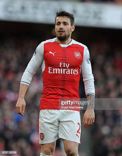 Mathieu Debuchy of Arsenal during the Premier League match between Arsenal and AFC Bournemouth at Emirates Stadium on November 27 2016 in London...
