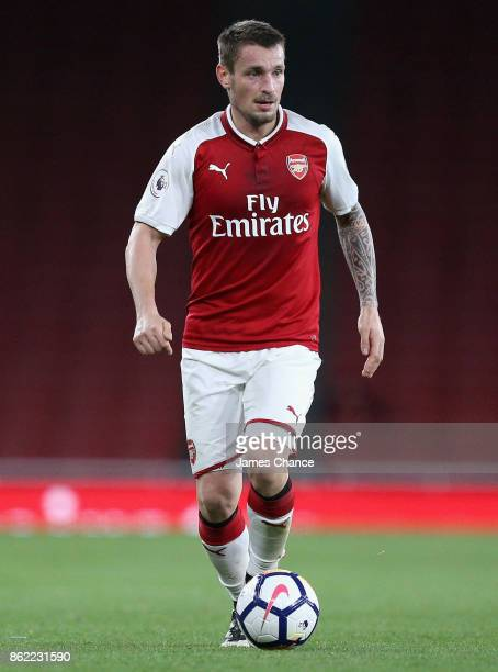Mathieu Debuchy of Arsenal in action during the Premier League 2 match between Arsenal and Sunderland at Emirates Stadium on October 16, 2017 in...