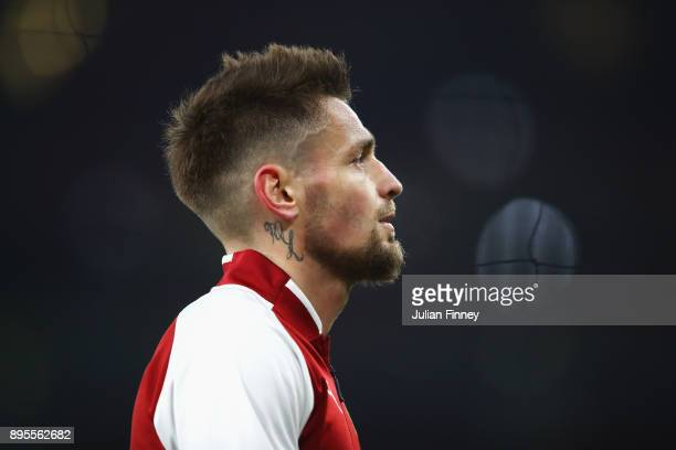 Mathieu Debuchy of Arsenal looks on prior to the Carabao Cup Quarter-Final match between Arsenal and West Ham United at Emirates Stadium on December...