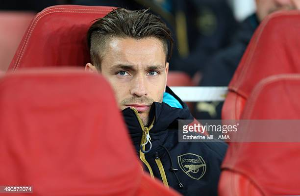 Mathieu Debuchy of Arsenal on the bench before the UEFA Champions League match between Arsenal and Olympiacos at the Emirates Stadium on September 29...