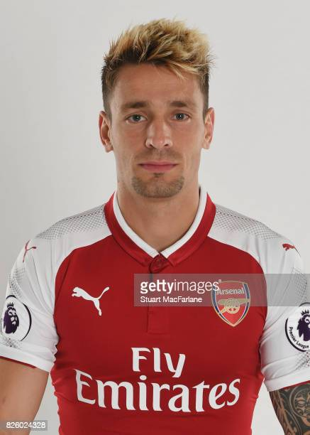 Mathieu Debuchy of Arsenal poses in a first team photocall at Emirates Stadium on August 3, 2017 in London, England.