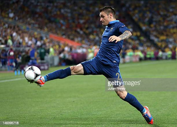 Mathieu Debuchy of France controls the ball during the UEFA EURO 2012 group D match between Ukraine and France at Donbass Arena on June 15, 2012 in...