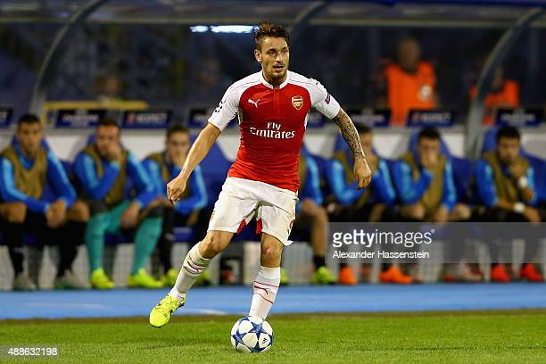 Mathieu Debuchy of Londons runs with the ball during the UEFA Champions League Group F match between Dinamo Zagreb and Arsenal at Maksimir Stadium on...