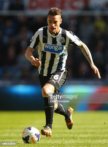 Mathieu Debuchy of Newcastle United during the Barclays Premier League fixture between Newcastle United and Swansea City at St. James Park on April...