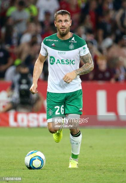 Mathieu Debuchy of Saint-Etienne during the French Ligue 1 match between Lille OSC and AS Saint-Etienne at Stade Pierre Mauroy on August 28, 2019 in...
