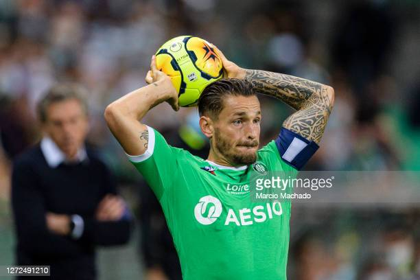 Mathieu Debuchy of Saint-Étienne in action during the Ligue 1 match between Saint Etienne v Strasbourg at Stade Geoffroy-Guichard on September 12,...