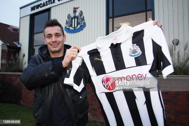 Mathieu Debuchy poses after signing for Newcastle United at the Little Benton Training ground on January 04 2013 in Newcastle upon Tyne England