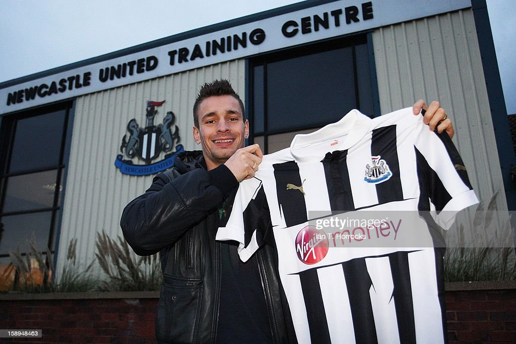 Mathieu Debuchy poses after signing for Newcastle United at the Little Benton Training ground on January 04, 2013 in Newcastle upon Tyne, England.