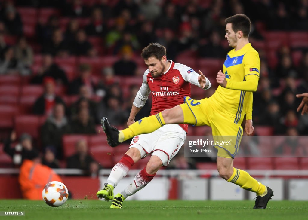 Mathieu Debuchy scores a goal for Arsenal during the UEFA Europa League group H match between Arsenal FC and BATE Borisov at Emirates Stadium on December 7, 2017 in London, United Kingdom.