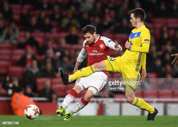 Mathieu Debuchy scores a goal for Arsenal during the UEFA Europa League group H match between Arsenal FC and BATE Borisov at Emirates Stadium on...