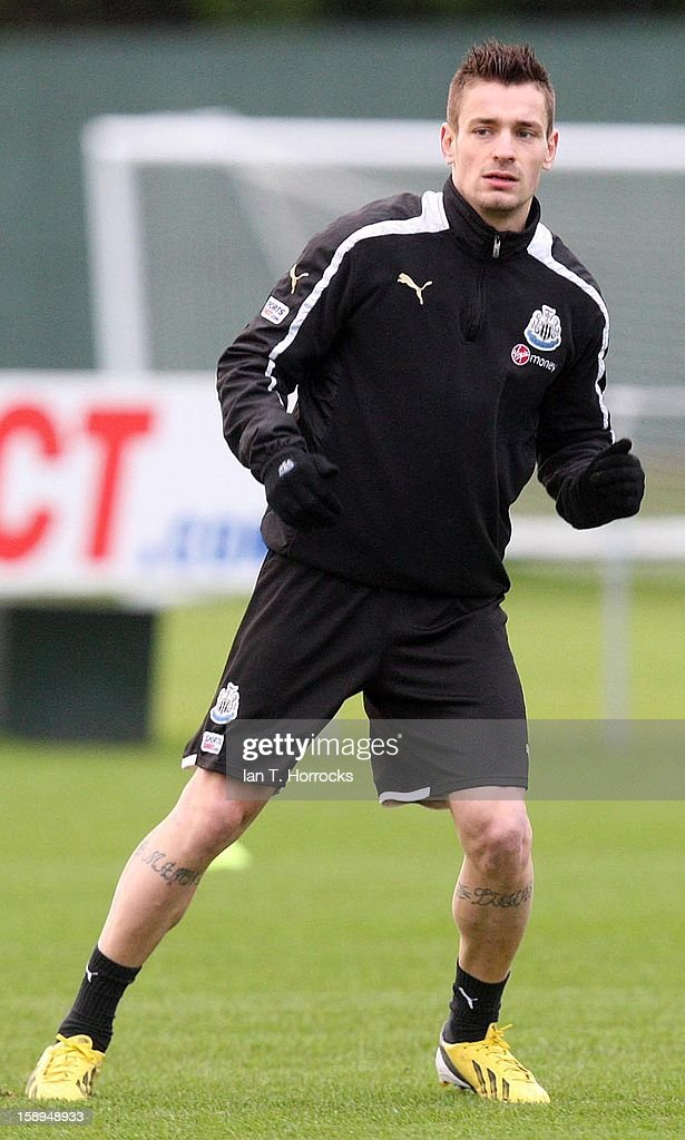 Mathieu Debuchy takes part in a Newcastle United training session at The Little Benton training ground on January 04, 2013 in Newcastle upon Tyne, England.