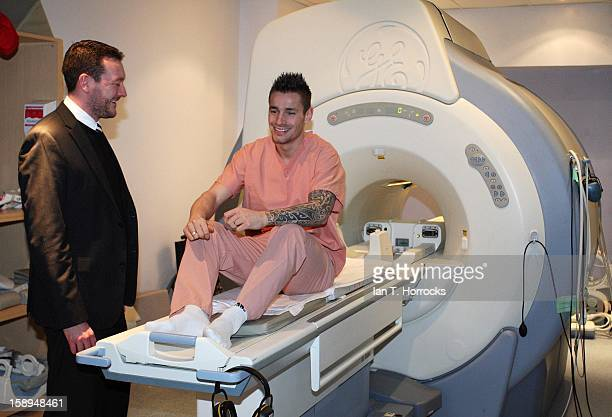Mathieu Debuchy undergoes medical tests while signing for Newcastle United at the Nufield Hospital on January 04 2013 in Newcastle upon Tyne England