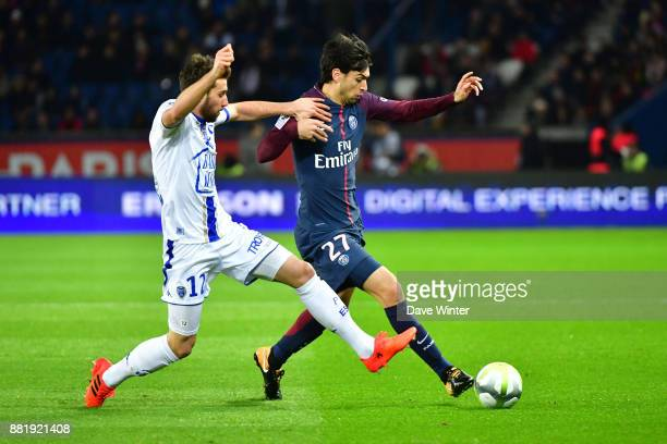 Mathieu Deplagne of Troyes and Javier Pastore of PSG during the Ligue 1 match between Paris Saint Germain and Troyes Estac at Parc des Princes on...