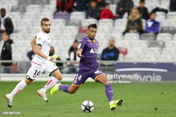 Mathieu Dossevi of Toulouse during the Ligue 1 match between Toulouse FC v Dijon FCO on December 2, 2018 in Toulouse, France.